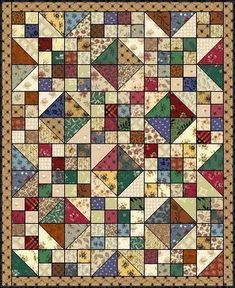 This is a quilt pattern called Buckeye Beauty. It is great for using up scraps.
