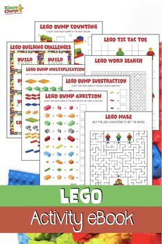 Kid activities Who doesn't love LEGO? We have a Lego activities book for FREE for the kids - perfe Lego Mecha, Lego Maze, Lego Words, Lego Challenge, Free Lego, Lego Activities, Lego Craft, Lego For Kids, Lego Birthday