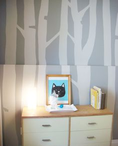 DIY birch tree wall mural, paint effect. NO STENCIL NEEDED!! Grey tones, great for making any room cozy.