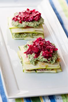 Raw Pesto-Sauerkraut Lasagna.  A fresh and healthy summer recipe. Could replace sauerkraut with something like diced olives, pepperocini peppers, diced sundried tomatoes, etc.