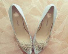 Art-Deco weiß oder Elfenbein Hochzeit Schuhe mit von BellaBelleShoe