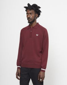 Fred Perry Long Sleeve Cuff Knit Polo Shirt Burgundy #StyleMadeEasy
