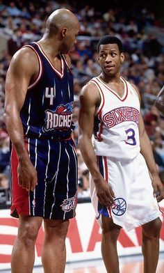 Charles Barkley and Allen Iverson 1997 After five seasons in Phoenix, Barkley was traded to Houston. Meanwhile, in Philadelphia, Allen Iverson became the Sixers next great star.