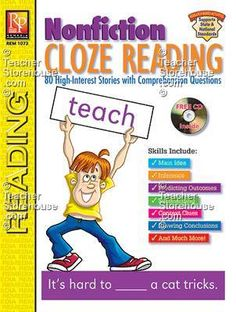 Nonfiction Cloze Reading Cloze Reading, Guided Reading, Reading Strategies, Reading Activities, Comprehension Questions, Reading Comprehension, Cloze Activity, Context Clues, Reading Intervention