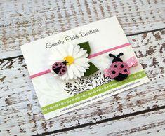 Daisy Headband Pink Black Ladybug - Felt Flower Headband Set -Glitter Ladybugs - Newborn Infant Baby Toddler Girls - Sister Set- Hair Clip