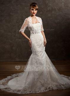 Wedding Dresses - $186.99 - Trumpet/Mermaid Sweetheart Chapel Train Satin Tulle Wedding Dress With Lace Beading Flower(s) (002011411) http://jjshouse.com/Trumpet-Mermaid-Sweetheart-Chapel-Train-Satin-Tulle-Wedding-Dress-With-Lace-Beading-Flower-S-002011411-g11411