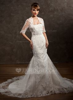 Wedding Dresses - $186.99 - Trumpet/Mermaid Sweetheart Chapel Train Satin Tulle Wedding Dress With Lace Beading Flower(s) (002011411) http://jjshouse.com/Trumpet-Mermaid-Sweetheart-Chapel-Train-Satin-Tulle-Wedding-Dress-With-Lace-Beading-Flower-S-002011411-g11411