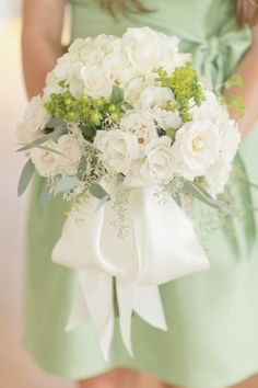 White Rose and Green Berry Bouquet