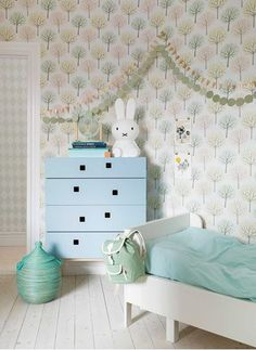 "A playful design featuring trees in various colorways. Ideal as wallpaper for a children's room or in a hall or living room. <a href=""http://scandinavianwallpaper.com/decorama-16""style=""color:#89CFF0;"">Show collection Decorama EasyUp 16</a>"