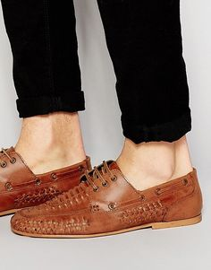 ASOS | ASOS Woven Loafers in Tan Leather at ASOS