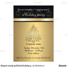 Elegant trendy gold black holiday party corporate 5x7 paper invitation card