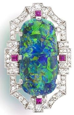 Art Deco Opal & Diamond Brooch