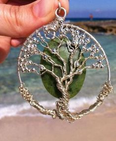 Crystallized Cherry Blossoms Tree of Life Wire Wrapped Necklace