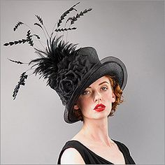 • Kelly  • Design by Louise Green   • Fabric: Parisisal Crown, Sinamay Brim, Feather, Silk Flower  • Colors: Black