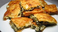 Borek with feta and spinach filling Spinach Pie, Spinach And Feta, Burek Recipe, Homemade Breadsticks, Gourmet Recipes, Healthy Recipes, Dinner Recipes, Most Popular Desserts, Macedonian Food
