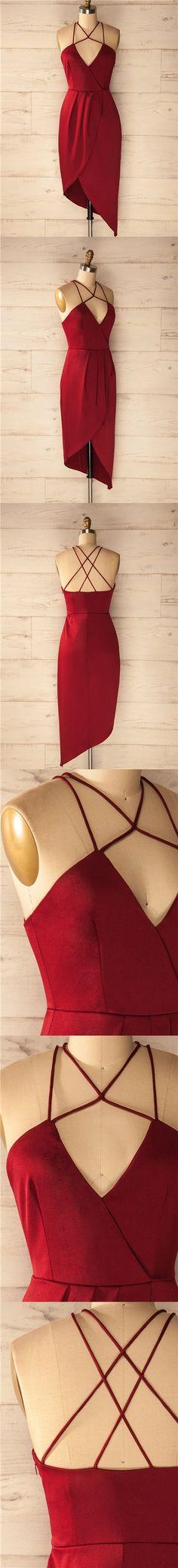 2017 Homecoming Dress Sexy Burgundy Halter Slit Short Prom Dress Party Dress JK174