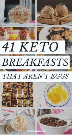 Eggs might be a perfect protein but that doesnt mean every keto breakfast has to include or revolve around them. We've gathered 41 of the most delicious low carb breakfast recipes that aren't eggs! No Carb Breakfast, Healthy Breakfast Recipes, Breakfast With No Eggs, Low Card Breakfast Ideas, Eggs Low Carb, Low Carb Keto, Keto Meal Plan, Sans Gluten, Keto Recipes