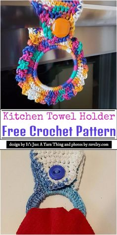 Here are some awesome looking crochet towel holder patterns compiled for you. These are perfect for holding your towel aside from your oven or sink. Easy Crochet Stitches, Easy Crochet Projects, Crochet Patterns, Crochet Crafts, Crochet Ideas, Crochet Towel Holders, Crochet Towel Topper, Diy Towel Holders, Crochet Sunflower