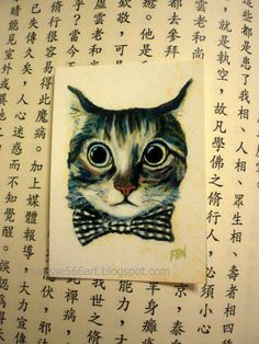 """Good Boy Cat With A Checked Bowtie"" small print $10 by Jinfen on @Etsy"
