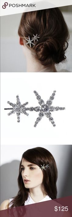 New Jennifer Behr Venus star bobby pin New Jennifer Behr Venus double star bobby pin - new with tags & box. Handmade in NYC. Swarovski crystals. Perfect for an engagement party, wedding, New Years party or any sparkly celebration! ✨ Jennifer Behr  Accessories