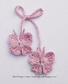 Ravelry: Crochet Butterfly Free Tutorial pattern by Miak Design Love Crochet, Crochet Gifts, Crochet Motif, Diy Crochet, Crochet Patterns, Crochet Hooks, Ravelry Crochet, Crochet Appliques, Knitting Patterns
