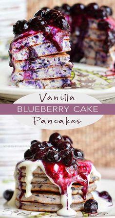 Vanilla Blueberry Cake Pancakes – Whisk in Wellness Buckwheat Cake, Blueberry Pancakes, Fruit Pancakes, Vegan Blueberry, Blueberry Recipes, Pear Recipes, Brunch Recipes, Breakfast Recipes, Healthy Recipes