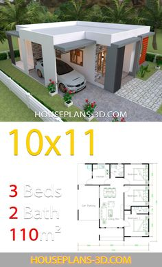 Design affordable House Design with 3 Bedrooms terrace roof - House Plans 3d House Plans, Model House Plan, House Layout Plans, Small House Plans, House Layouts, Tiny Home Floor Plans, Simple House Design, House Front Design, Minimalist House Design