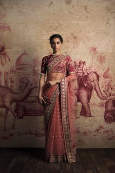 This is a beautiful marokn sari. The blouse is heavily made and looks gorgeus under the netting sari. The border is heavy and looks absolutely gorgeous. The hair is pulled up into a classic updo. Overall that sari looks breathtaking. Bridal Lehenga, Saree Wedding, Wedding Wear, Wedding Ceremony, Designer Sarees Wedding, Wedding Dresses, Engagement Dresses, Wedding Bride, Sabyasachi Sarees