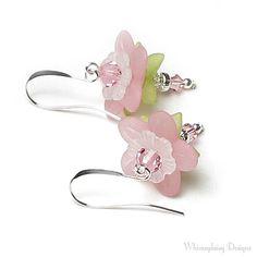 Cherry Blossom Floral Crystal Earrings by whimsydaisydesigns, $16.00