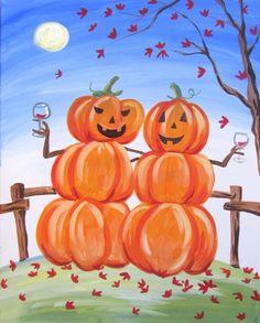 Paint Nite events near Bel Air, MD Pumpkin Canvas Painting, Halloween Canvas Paintings, Halloween Painting, Autumn Painting, Canvas Art, Halloween Art Projects, Halloween Rocks, Halloween Party, Fall Drawings