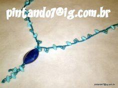 ♥Colar em Crochê Azul Piscina♥