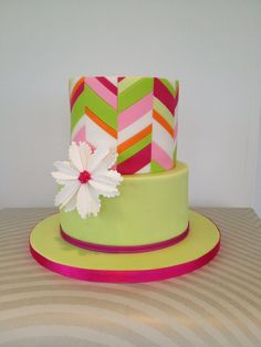 First Attempt At Offset Chevron Cake via Craftsy