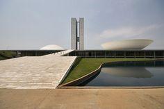 National Congress of Brazil, Brasilia  Senate & Chamber of deputies    Architect: Oscar Niemeyer 1958  Landscape architect: Roberto Burle Marx  WOW!!!!!!!