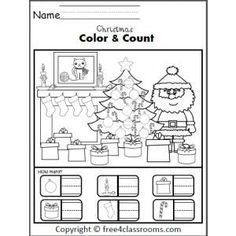 Christmas Color and Counting Worksheet