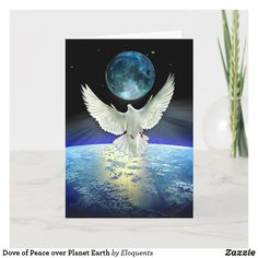 Dove of Peace over Planet Earth Holiday Card Peace On Earth, World Peace, Peace Dove, White Doves, New Year Card, Planet Earth, Christmas Card Holders, Christmas And New Year, Holiday Cards
