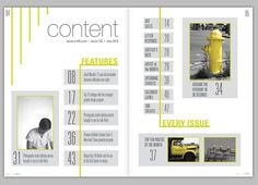 Magazine Design & Layout - Destry Kiser Design // I LOVE this minimal design! Table Of Contents Magazine, Magazine Table, Living Magazine, Editorial Layout, Editorial Design, Web Design, Index Design, Papier Layout, Table Of Contents Design