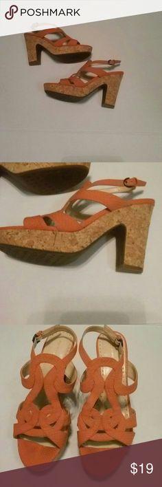 Adrienne Vittadini. Size 8 Cork Block Heels Beautiful. .No Flaws Coral Adrienne Vittadini Shoes Heels