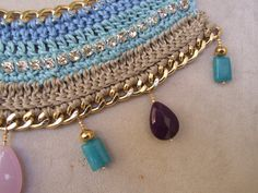Unique beige and aqua blue cotton crochet necklace by creatodame