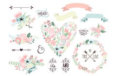 Wedding Floral clipart, Wreath heart by GraphicMarket on Creative Market
