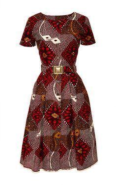 Togo Dress In Red Dahlia Print by Lena Hoschek ~Latest African fashion, Ankara, kitenge, African wom African Inspired Fashion, African Dresses For Women, African Print Dresses, African Print Fashion, Africa Fashion, African Attire, African Wear, African Fashion Dresses, African Women