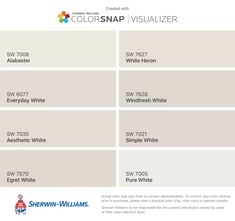 I found these colors with ColorSnap® Visualizer for iPhone by Sherwin-Williams: Roman Column (SW Dover White (SW Whitetail (SW Downy (SW Creamy (SW Alabaster (SW Westhighland White (SW Natural Tan (SW