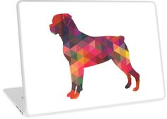 Rottweiler Colorful Geometric Pattern Silhouette by TriPodDogDesign