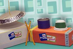 make drums using shoe boxes, paper cups, and pie pans