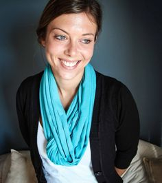 Beautiful Aqua Blue T-shirt Necklace / Scarf. Shop at www.wave2africa.com