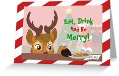 Reindeer Love Cookies Greeting Cards #christmas #holidays #reindeer #santa #cookies