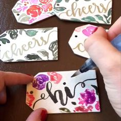 Playing with these amazing super thick gift tags and falling in love with the results!  #bellaloveletters #brushlettering #calligraphy #calligraphyvideo #moderncalligraphy #pentelbrushpen #watercolors #watercolorpainting #watercolortutorial #floral #wedding #weddingstationery #handlettered #handlettering #typography #typographyinspired #graphicdesign