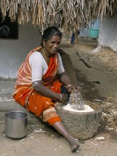 size: Photographic Print: Village Woman Pounding Rice, Tamil Nadu, India by Occidor Ltd : Artists Village Photography, Indian Photography, Photography Women, Indiana, Tribal Images, Human Figure Sketches, Ariana Grande Drawings, Village Photos, Photos Hd