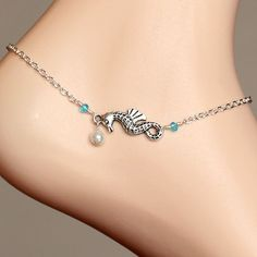 Best friend jewelry Silver seahorse pearl ankle