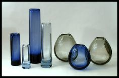 Vintage hand blown clear and coloured Holmegaard glassware from Freeforms USA