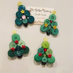 Cute little Button Christmas tree magnets perfect for fridges/lockers/memo boards